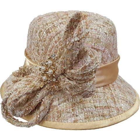 Women's Camel dressy church hat covered in a Boucle chenille fabric