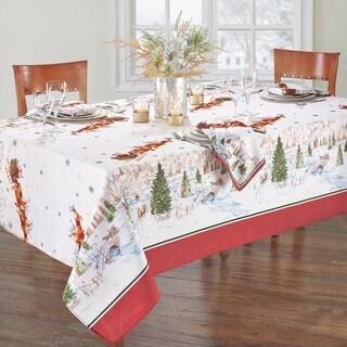 Santa's Snowy Sleighride Tablecloth