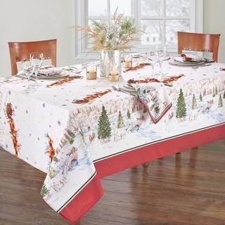 Link to Santa's Snowy Sleighride Tablecloth Similar Items in Table Linens & Decor