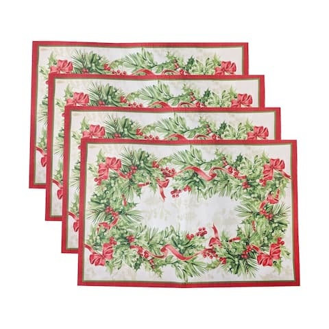 """Holly Traditions Holiday Placemats, Set of 4 - 13""""x19"""""""
