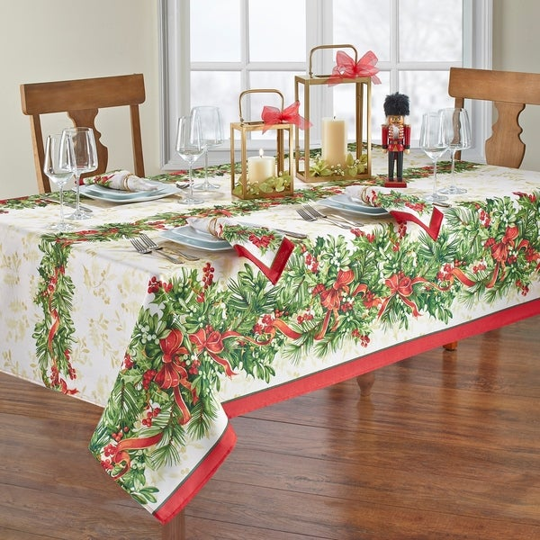 Holly Traditions Holiday Tablecloth. Opens flyout.