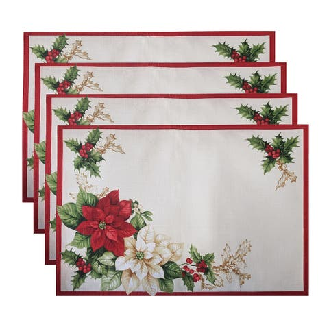 """Red and White Poinsettias Placemat, Set of 4 - 13""""x19"""""""