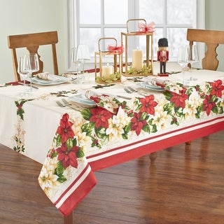 Red and White Poinsettia Tablecloth