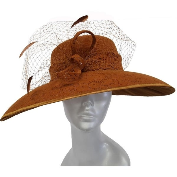 Women's Coffee dressy church hat covered in a chenille fabric