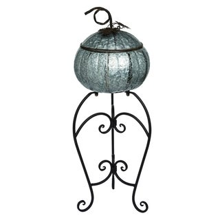 Transpac Metal Silver Harvest Pumpkin Container with Pedestal