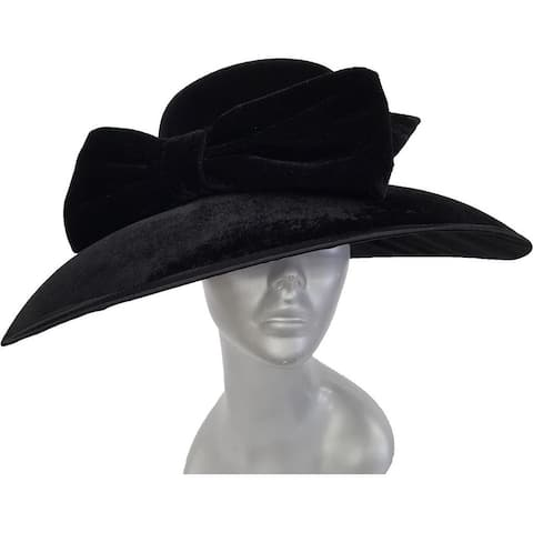 Women's Black dressy hat covered in a velvet fabric church-wide brim