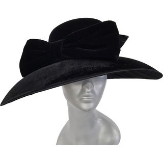 Women's Black dressy hat covered in a velvet fabric church-wide brim