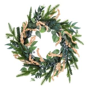 "Transpac Wood 22"" Green Harvest Evergreen Wreath - N/A"