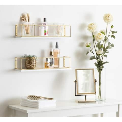 """Kate and Laurel Benbrook 18"""" Wood and Metal Floating Wall Shelves - 2 Piece"""