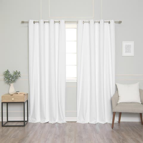 Aurora Home Linen Textured Grommet Thermal Total Blackout Curtain Pair
