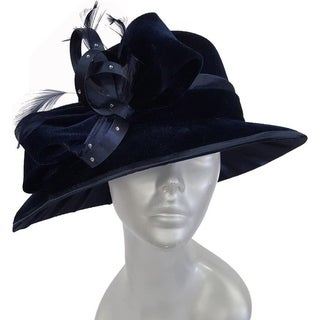 Women's Navy dressy hat covered in a velvet fabric church-wide brim