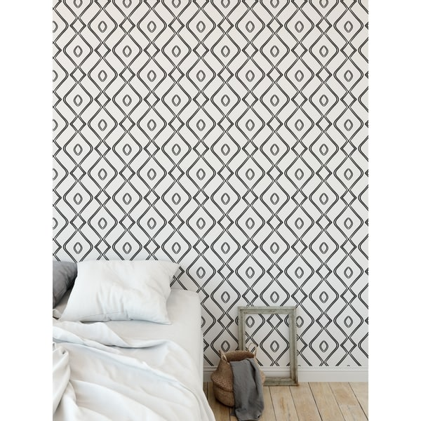 Shop Modern Ogee Black And White Peel And Stick Wallpaper By