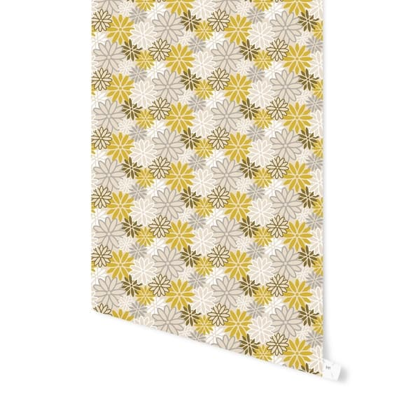 Shop Beatnik Floral Yellow Peel And Stick Wallpaper By Kavka Designs Overstock 29342740