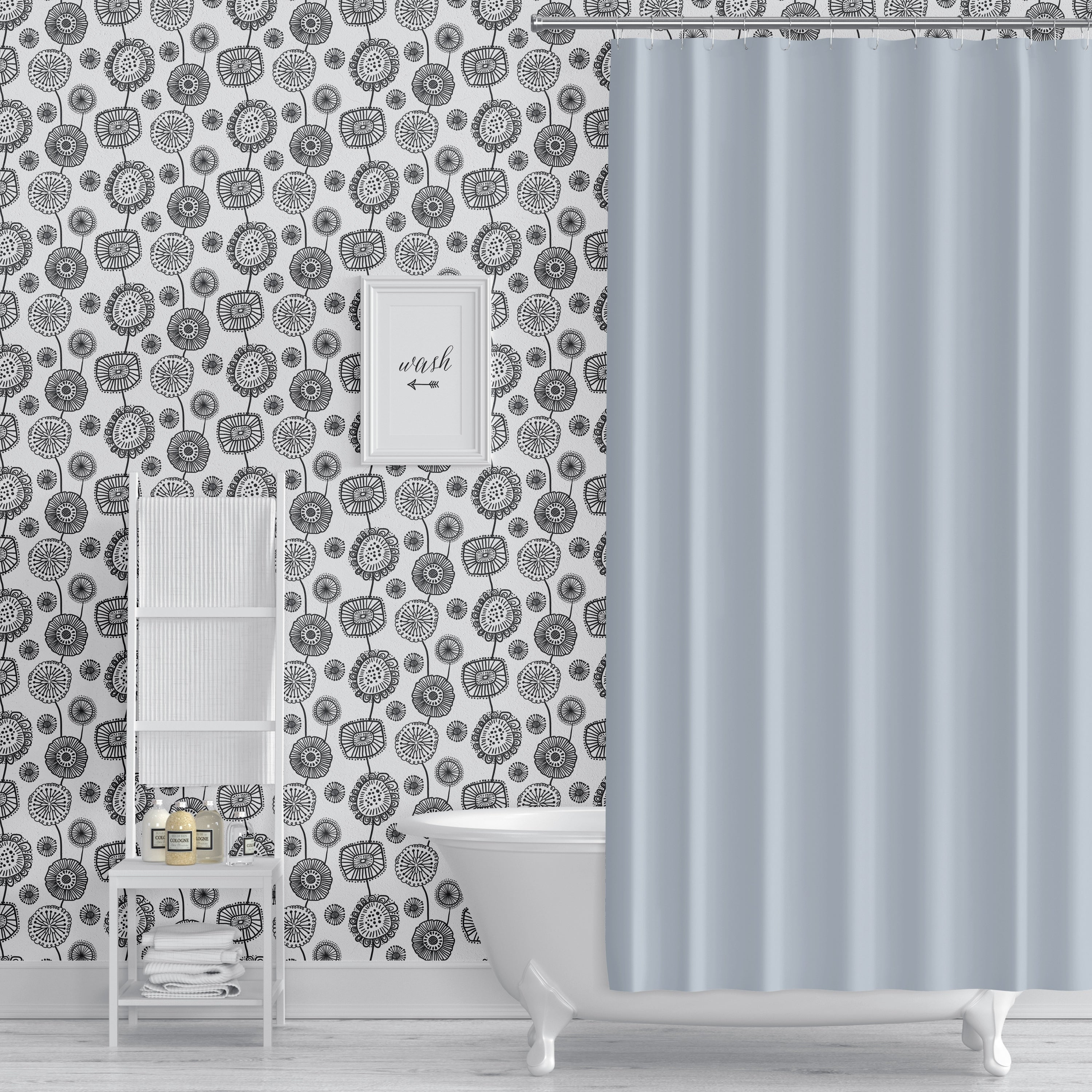 Shop Doodle Floral Black And White Peel And Stick Wallpaper By