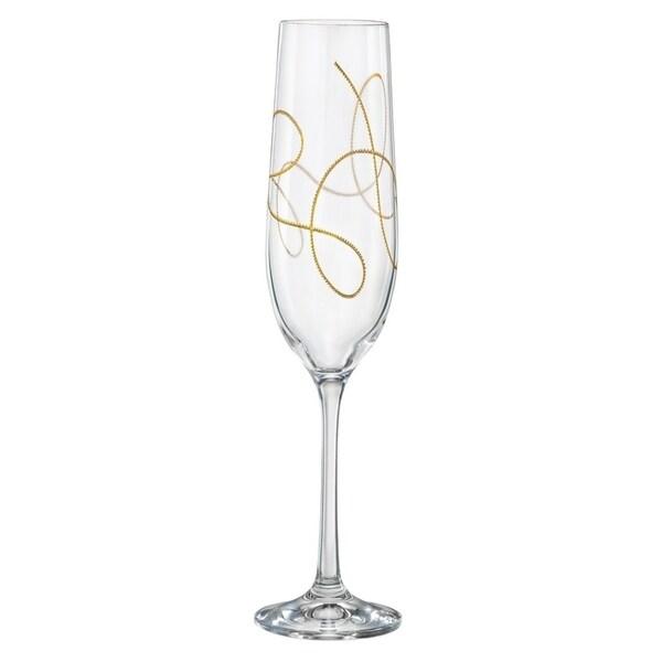 Majestic Gifts Inc Set/2 Toasting Flutes w/ Gold String Design- 6.5oz