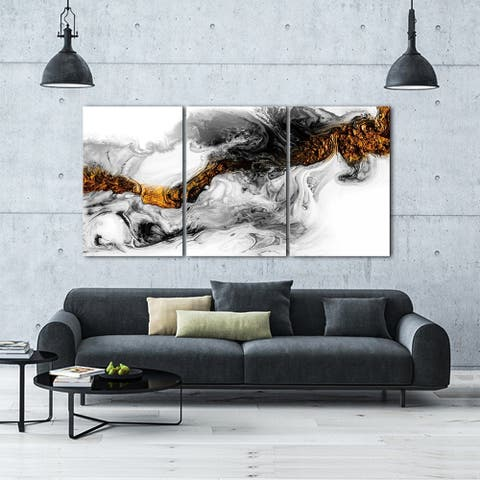 "Oppidan Home ""Light Energy"" Acrylic Wall Art (48""H X 96""W) - Multi - Yellow, Black, White"