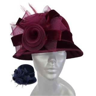 Women's church dressy hat covered in a velvet fabric church SW9013
