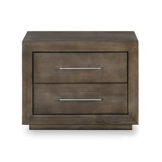 Carbon Loft Carnegie Two-drawer Nightstand with USB in Dark Pine