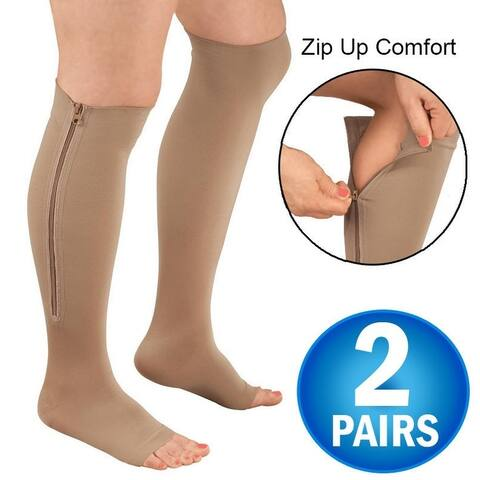 Zipper Pressure Compression Support Socks - Open Toe - Knee High - 20-30mmHg - 2 Pairs