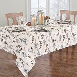 Link to Porch & Den Pembrooke Weathered Holiday Tree Trimmings Tablecloth Similar Items in Table Linens & Decor