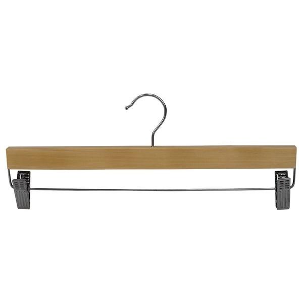 Wood Skirt Hanger Metal Clips 3 Pack Natural