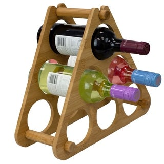 9 Slot Foldable Tiered Bamboo Wine Rack Natural
