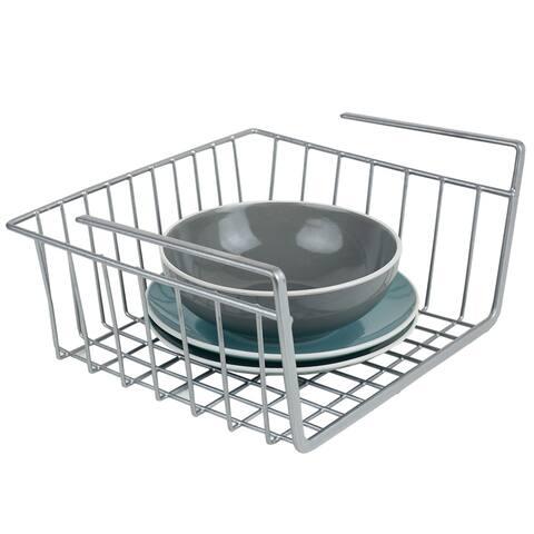 Small Under Shelf Steel Basket Silver