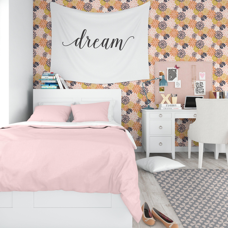 Shop Beatnik Floral Peach Peel And Stick Wallpaper By Kavka