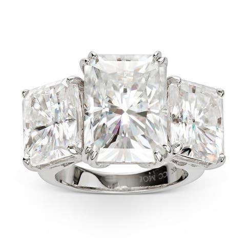Forever One Moissanite Radiant Three Stone Ring in 18k White Gold 17.10 TGW Size - 5.5
