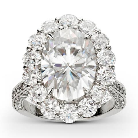 Forever One Moissanite Oval Halo Ring in 18k White Gold 9.98 TGW Size - 7