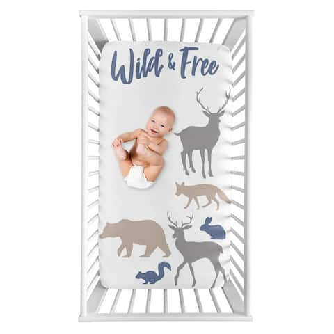 Sweet Jojo Designs Woodland Animals Collection Boy Photo Op Fitted Crib Sheet - Blue, Grey and Tan Wild and Free Bear Deer Fox