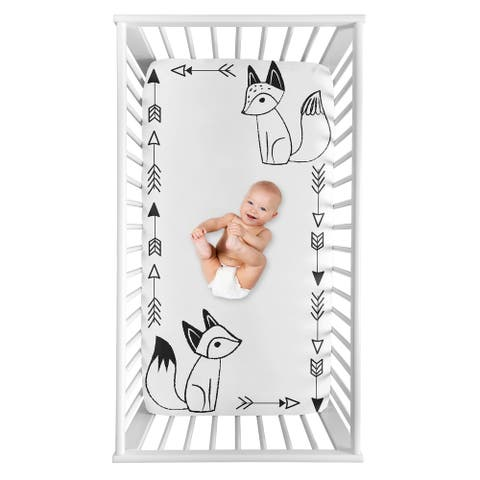 Sweet Jojo Designs Black and White Fox Collection Boy or Girl Photo Op Fitted Crib Sheet - Gender Neutral Unisex