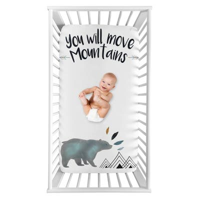 Sweet Jojo Designs Bear Mountain Boy Photo Op Fitted Crib Sheet - Slate Blue and Black Watercolor You Will Move Mountains