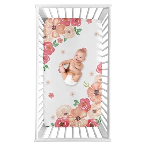 Sweet Jojo Designs Shabby Chic Floral Collection Girl Photo Op Fitted Crib Sheet - Peach, Pink and Green Watercolor Rose Flower