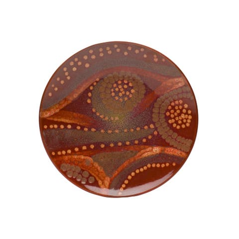 """Red Vanilla Reactive Brown Service Plate 13"""""""