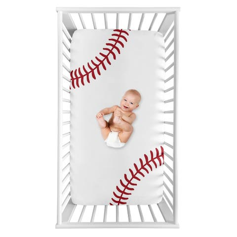 Sweet Jojo Designs Baseball Collection Boy Photo Op Fitted Crib Sheet - Red and White Americana Sports