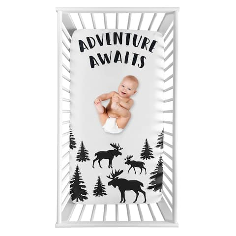 Sweet Jojo Designs Woodland Moose Collection Boy Photo Op Fitted Crib Sheet - Black and White Adventure Awaits Rustic Patch