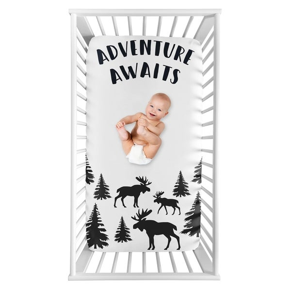 Sweet Jojo Designs Woodland Moose Collection Boy Photo Op Fitted Crib Sheet - Black and White Adventure Awaits Rustic Patch. Opens flyout.