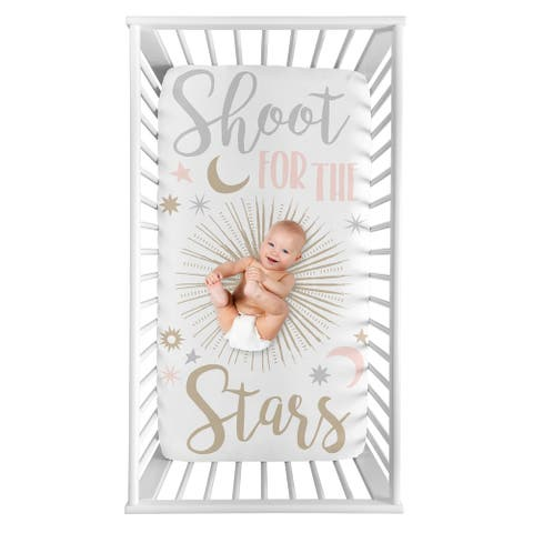 Sweet Jojo Designs Star and Moon Girl Photo Op Fitted Crib Sheet - Blush Pink Gold Grey and White Shoot for the Stars Celestial