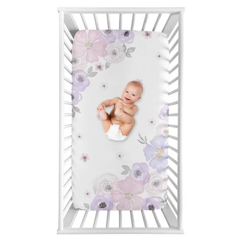 Sweet Jojo Designs Shabby Chic Floral Girl Photo Op Fitted Crib Sheet - Lavender Purple Pink and Grey Watercolor Rose Flower