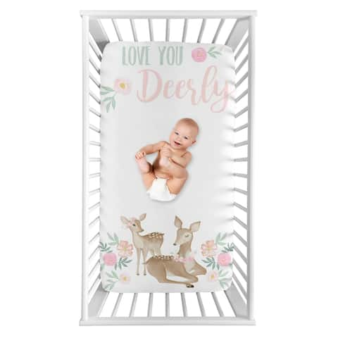 Sweet Jojo Designs Woodland Deer Floral Girl Photo Op Fitted Crib Sheet - Blush Pink Mint Green Boho Watercolor Love You Deerly