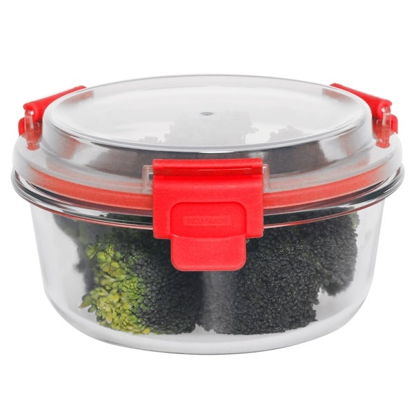 32 oz Round Glass Container Red