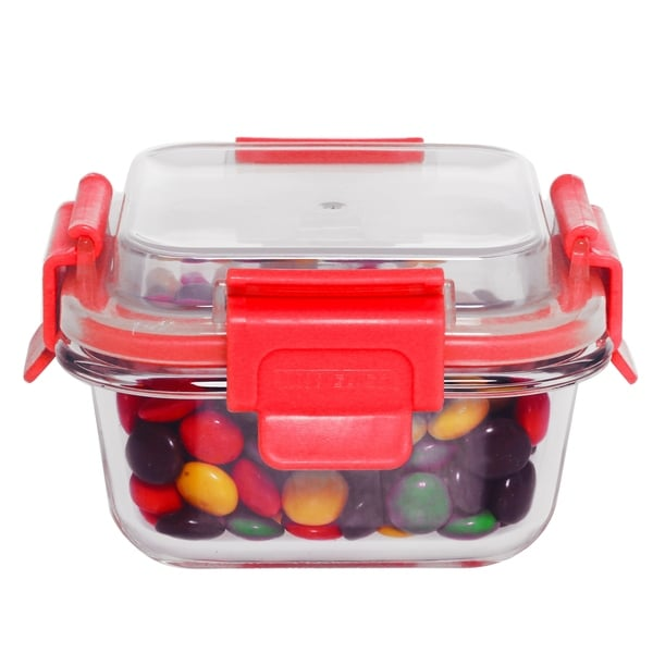 21 oz Rectangle Glass Container Red