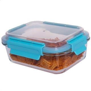 35 oz Rectangle Glass Container Turquoise