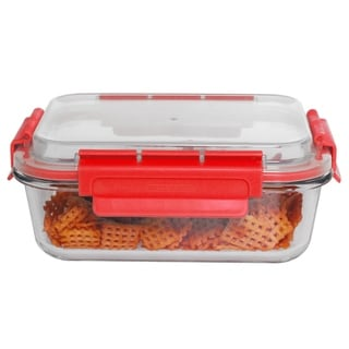35 oz Rectangle Glass  Container Red
