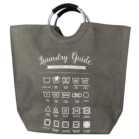 Laundry Guide Canvas Hamper Grey