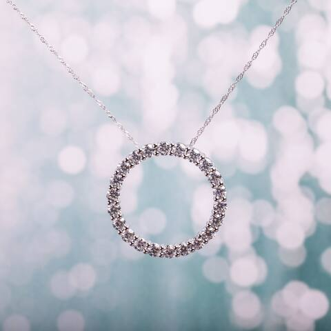Moissanite by Miadora 10k White Gold 2 1/5 CT TGW Moissanite Circle of Life Necklace