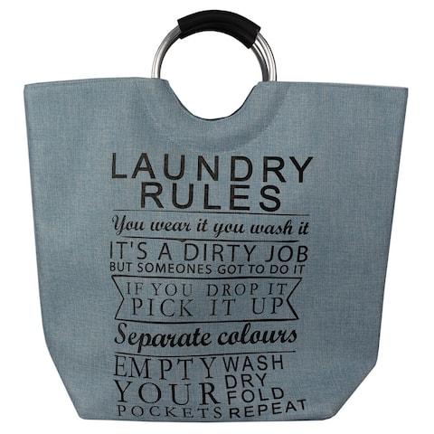 Laundry Rules Canvas Hamper Blue