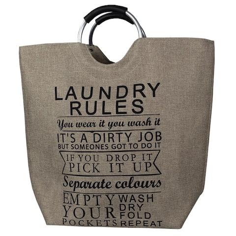Laundry Rules Canvas Hamper Tan