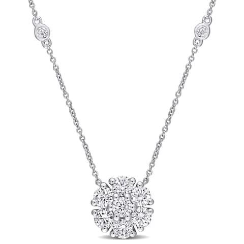 Moissanite by Miadora 10k White Gold 1 2/5 CT TGW Moissanite Flower Station Necklace